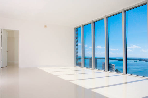 Windows in empty modern living space:スマホ壁紙(壁紙.com)