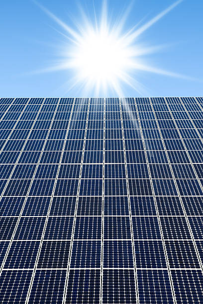 Solar panels against a sunny sky with many copyspace:スマホ壁紙(壁紙.com)