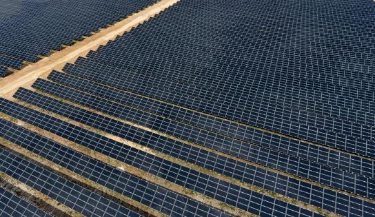 France「Solar Panels in Farm, aerial view」:スマホ壁紙(0)