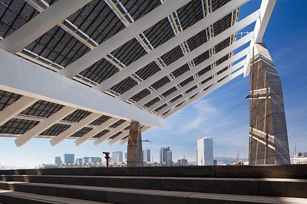 A solar panel and Barcelona skyline:スマホ壁紙(壁紙.com)