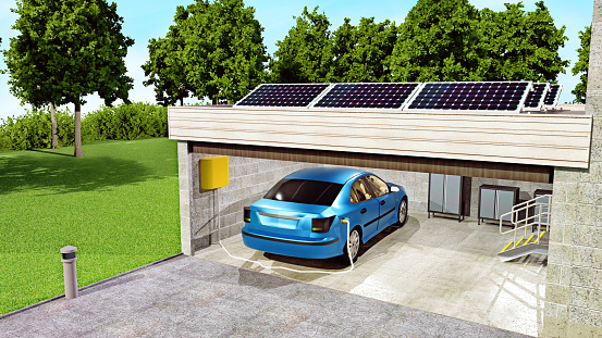 Efficiency「Solar panels on top of garage charge an electric car parked below」:スマホ壁紙(16)