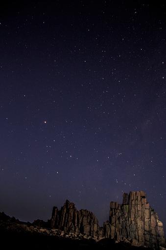 Basalt「Dramatic coastal basalt columns rock formations at night under starry sky at the disused Bombo Quarry site on Bombo Headland south of Sydney near Kiama, NSW, Australia」:スマホ壁紙(3)