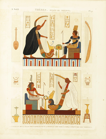 楽器「Paintings of two harpers in the tomb of Pharaoh Ramesses III in the Valley of the Kings」:写真・画像(4)[壁紙.com]