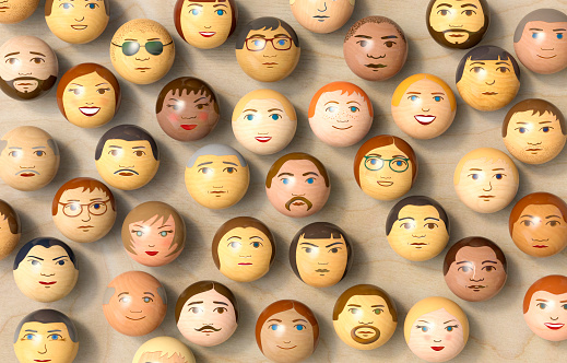 Individuality「Wooden balls with multi-ethnic faces on them. (top view)」:スマホ壁紙(14)