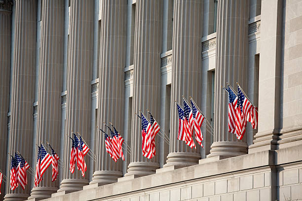 US flag decorations between columns for Obama's swearing in:スマホ壁紙(壁紙.com)