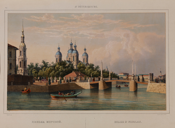 Chromolithograph「The Saint Nicholas Naval Cathedral In Saint Petersburg 1840s」:写真・画像(5)[壁紙.com]