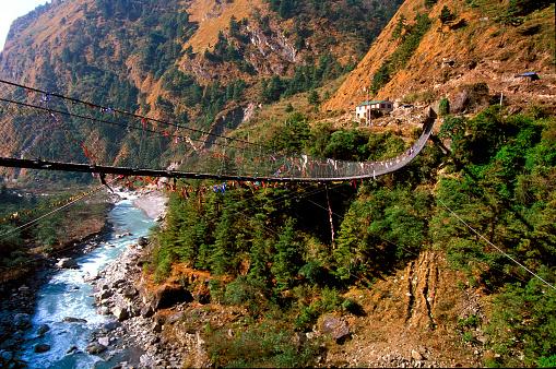 Annapurna Range「Suspended Bridge Crossing River in the Annapurna Himal」:スマホ壁紙(14)