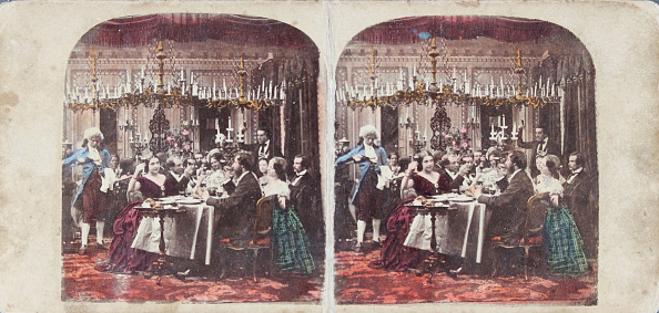 Dining Room「Supper After The Ball. About 1880. Coloured Stereophotograph.」:写真・画像(8)[壁紙.com]
