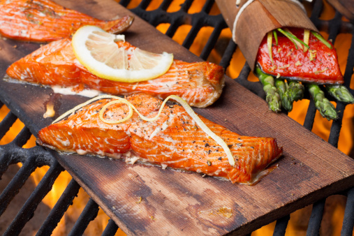 Serving Size「Three Grilled Salmon Filets on Cedar Plank」:スマホ壁紙(14)