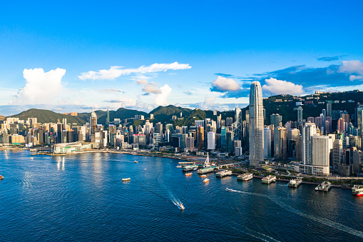 Asia「Drone view of Victoria Harbour, Hong Kong」:スマホ壁紙(2)