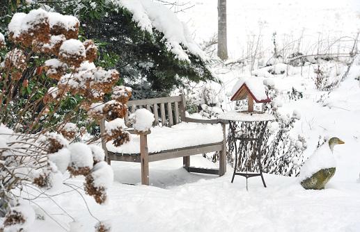 あじさい「冬の庭園、ベンチ、鳥の餌箱、サイドテーブル、ストーングレーグース」:スマホ壁紙(12)