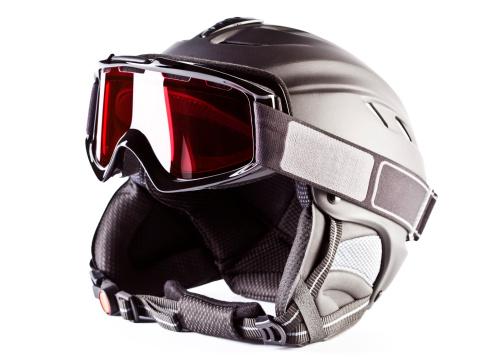 スキー「スキーヘルメット、ゴーグル、白で分離」:スマホ壁紙(14)