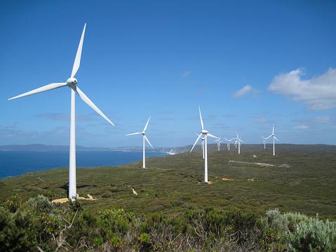Wind Turbine「Albany Wind Farm, large scale wind power station, 80 meters above the Southern Ocean, Albany, Western Australia, Australia」:スマホ壁紙(6)