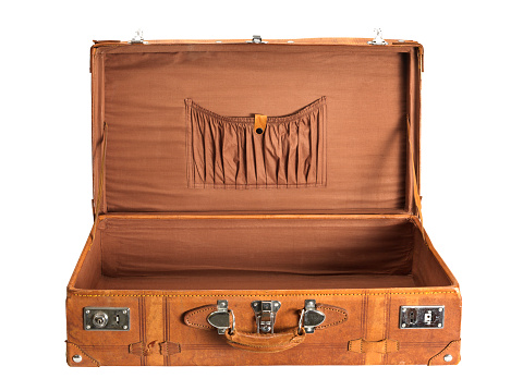 Old-fashioned「Old brown rectangular suitcase over a white background」:スマホ壁紙(10)