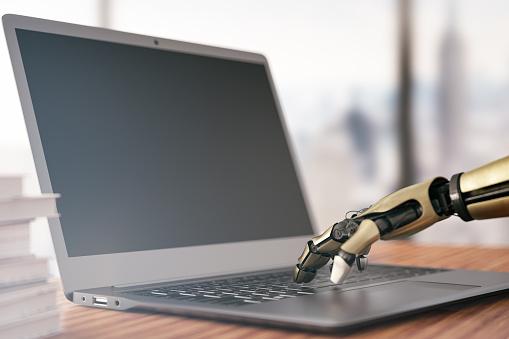 Human Hand「Robot's Hand Typing on Laptop Keyboard」:スマホ壁紙(3)
