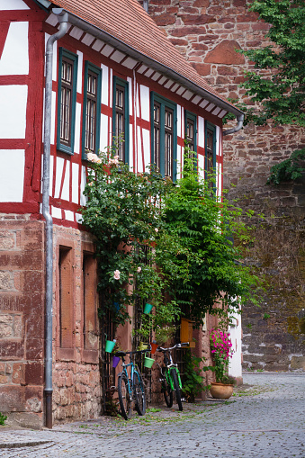 Bicycle「Half-timbered house, Michelstadt, Odenwald, Hesse, Germany」:スマホ壁紙(5)