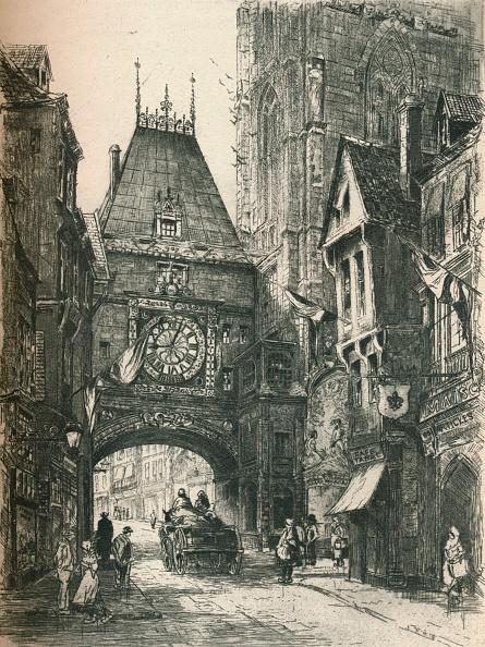 Etching「La Grosse Horloge, Rouen, c19th century. (1925). Artist: William Renison」:写真・画像(6)[壁紙.com]