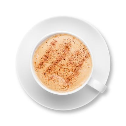 チョコレート「カプチーノでコーヒーカップとソーサー、ホワイト」:スマホ壁紙(3)