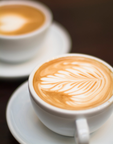Coffee - Drink「Cappuccino - One cup with decorated foam and bokeh background」:スマホ壁紙(9)