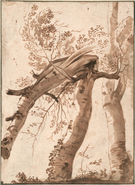 Chicken Meat「Two Silver Birches, the Front One Fallen, c. 1629. Artist: Poussin, Nicolas (1594-1665)」:写真・画像(0)[壁紙.com]