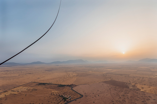 Morocco「Morocco, view from air balloon at desert and Jbilet mountains by sunrise」:スマホ壁紙(18)