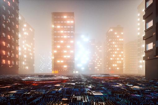 Evil「Dark foggy futuristic cityscape」:スマホ壁紙(7)