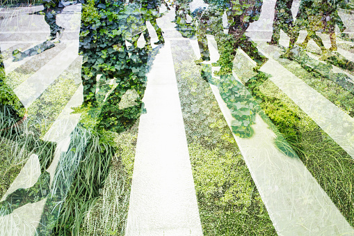 Environmental Issues「Multi layered businessmen with green wall」:スマホ壁紙(7)
