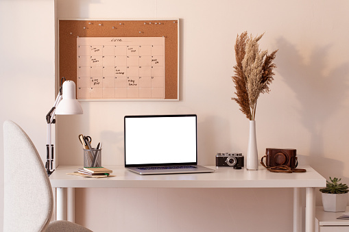 Computer Keyboard「At home still life, cozy workplace with laptop」:スマホ壁紙(18)