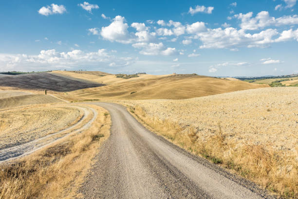 Val d'Orcia, Orcia Valley, landscape with a dirt road at summer time:スマホ壁紙(壁紙.com)