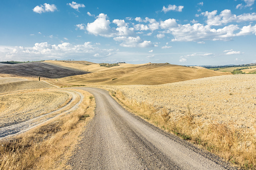 農村の風景「Val d'Orcia, Orcia Valley, landscape with a dirt road at summer time」:スマホ壁紙(8)