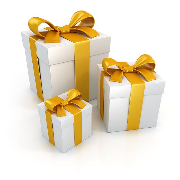 Gift boxes with gold ribbons isolated on white:スマホ壁紙(壁紙.com)