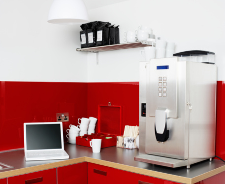 Coffee Maker「Laptop and coffee machine in office kitchen」:スマホ壁紙(12)