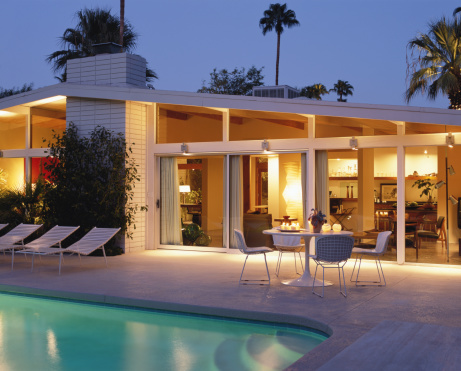 Outdoor Chair「House and swimming pool lit at night」:スマホ壁紙(0)