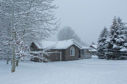 雪が降る「House and snowy front yard」:スマホ壁紙(3)