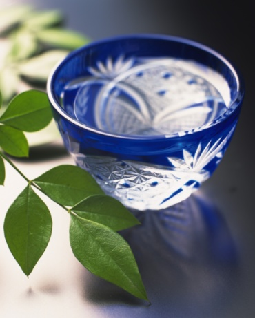Sake「A glass of cold sake with leaves, high angle view, differential focus」:スマホ壁紙(13)