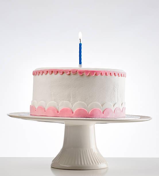 birthday cake on cakestand with one burning candle:スマホ壁紙(壁紙.com)