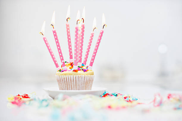 Birthday candles on cupcake:スマホ壁紙(壁紙.com)