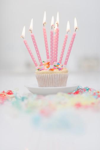 記念日「誕生日のロウソクでカップケーキ」:スマホ壁紙(14)