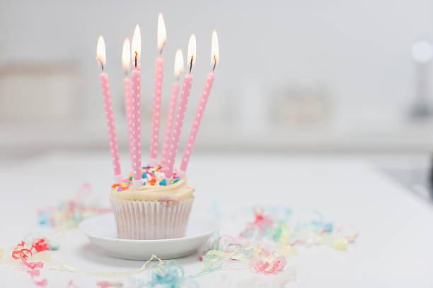 Birthday candles on cupcake:スマホ壁紙(壁紙.com)