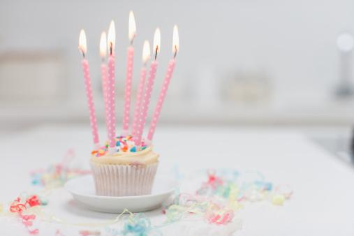 記念日「誕生日のロウソクでカップケーキ」:スマホ壁紙(1)