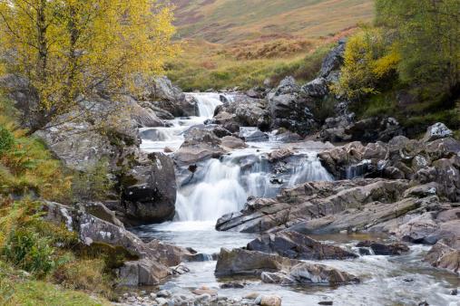 Perthshire「Moorland waterfall above village of Bridge of Balgie in autumn.」:スマホ壁紙(13)
