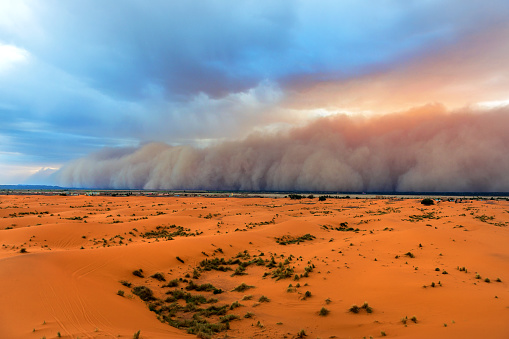 Saturated Color「Sandstorm Approaching Merzouga Settlement,in Erg Chebbi Desert Morocco,Africa」:スマホ壁紙(0)