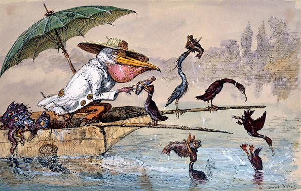 Umbrella「Cormorants Presenting Fish To A Pelican In A Punt Under An Umbrella circa 1864-1907」:写真・画像(7)[壁紙.com]