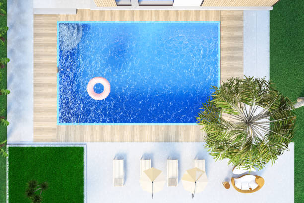 Modern House with Private Swimming Pool. Above View:スマホ壁紙(壁紙.com)