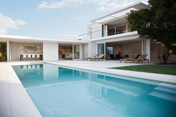 Modern house and swimming pool:スマホ壁紙(壁紙.com)