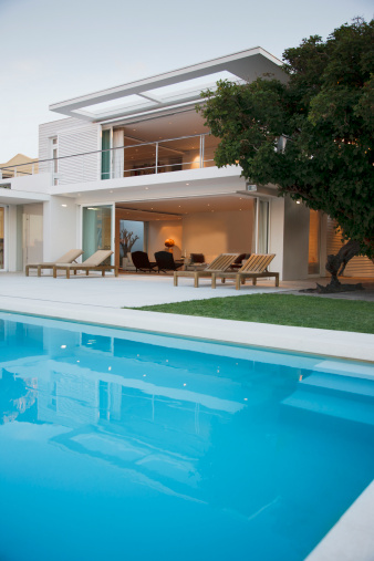 South Africa「Modern house and patio next to swimming pool」:スマホ壁紙(19)