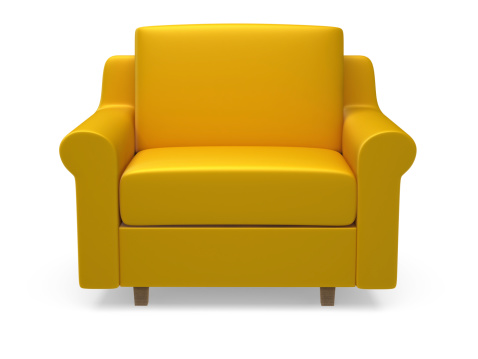 Back Of Chair「Yellow 3d armchair on white background」:スマホ壁紙(7)