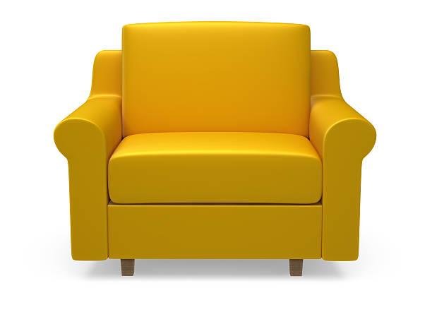 Yellow 3d armchair on white background:スマホ壁紙(壁紙.com)