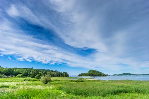 cloud「美しい自然とバーズ ケベック Bas Saint-Laurent (低セントローレンス) 地域のネットワークの一部であるパルク国立デュ ビックカメラでセント ・ ローレンス川のビュー。」:スマホ壁紙(17)