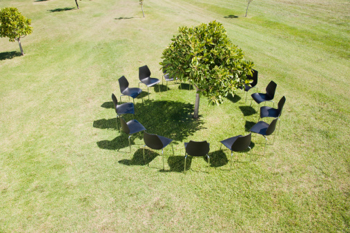 Environmental Issues「Circle of office chairs around tree in field」:スマホ壁紙(18)